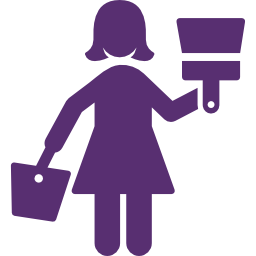 Icon of woman with paint brush and bucket